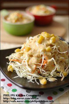 """양배추를 가장 맛있게 먹는 방법~땅콩 소스를 뿌린 """"양배추샐러드""""~ Asian Recipes, Ethnic Recipes, Mashed Potatoes, Macaroni And Cheese, Food And Drink, Rice, Salad, Meat, Chicken"""