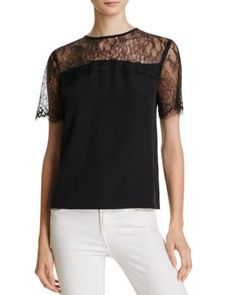 Cami Nyc reimagines the basic tee with this silk-rendered iteration that features a cool boxy cut elevated with sheer eyelash lace. | Silk; trim: nylon | Dry clean | Imported | Fits true to size, orde