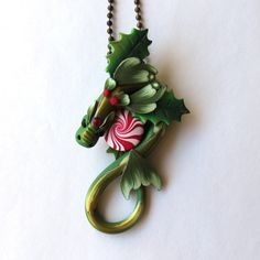 Christmas Dragon Necklace Polymer Clay Dragon Pendant Holiday Tree Ornament by Claybykim on Etsy