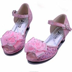 Pink High Heel Flower Girl Girls Pageant Party Dress Sandals Shoes SKU-133429