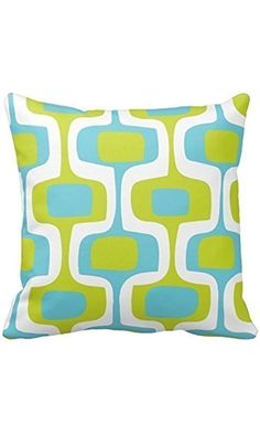 HLPPC Personalized Throw Pillowcase 18 x 18 Mid-Century Aqua and Chartreuse Retro Pattern Throw Pillow Cover Best Price
