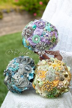 Alice in Wonderland Brooch Bouquet Wedding Package Premiere Collection - Yellow Green Lavender Mint Pewter Blue - set of 3 wedding brooch bouquets Designed for Fairytale Wedding, Bridal Flowers and Sp