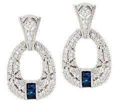 Judith Ripka Estate Pia 1/2ct. Sapphire & Diamonique Hoop Earrings