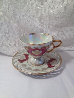 Royal Sealy Japan Teacup and Saucer with Opalescent Luster Finish, Footed Tea Cup, Hand-Painted.
