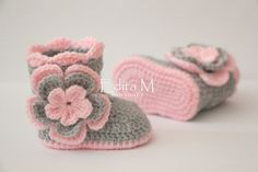 Crochet baby booties baby girl shoes boots socks by EditaMHANDMADE