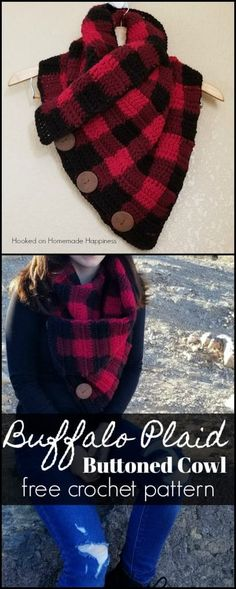 Crochet Clothes Buffalo Check Cowl Crochet Pattern - Creating this Buffalo Check pattern is easier than you might think! Grab three colors, your H hook and you'll have this Buffalo Check Cowl Crochet Pattern whipped up in no time. Poncho Au Crochet, Beau Crochet, Plaid Crochet, Knit Or Crochet, Crochet Scarves, Crochet Crafts, Crochet Clothes, Crochet Stitches, Crochet Projects