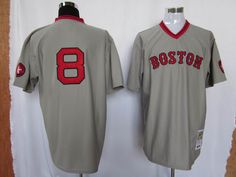 Carl Yastrzemski Grey Jerseys $18.99 This jersey belongs to Boston Red Sox  Color: white Size: M, L, XL, XXL, XXXL  The jersey is made of heavy fabric with nylon diamond weave mesh