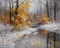 Painting Snow, Winter Painting, Winter Art, Watercolor Landscape, Abstract Landscape, Landscape Paintings, Watercolor Paintings, Winter Landscape, Tree Art