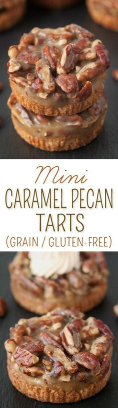 These mini caramel pecan tarts have an easy press-in crust and no-bake caramel pecan filling. Perfect for Thanksgiving or Christmas! {grain-free, gluten-free}