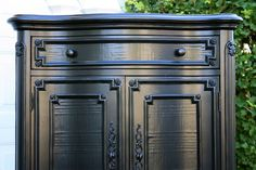 Glossy Black Finish Vs. Rubbed Black Finish (And a Tutorial) - The PB worn hand rubbed finish is beautiful and timeless. However, depending on the piece and the design of the room sometimes I recommend a glossy black paint finish. Like this: