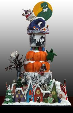 Omg, this cake is unreal. Nightmare Before Christmas Cake~ who the heck could eat this. Crazy Cakes, Fancy Cakes, Cute Cakes, Unique Cakes, Creative Cakes, Beautiful Cakes, Amazing Cakes, Halloween Torte, Halloween Night