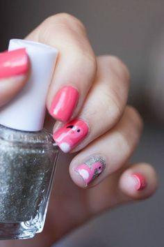 Pink flamingo nail art