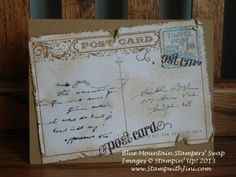 Stampin' Distress Tool makes the look easy to create and a lot of New Catalogue, Post Card, Stampin Up, Vintage World Maps, Scrap, Create, How To Make, Cards, June