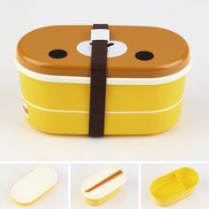 Lovely High Heat Resistance Double Layers Chopsticks Plastic Bento Lunch Box  MG