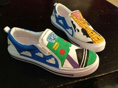 toy story buzz and woody custom shoes by BobKatPixelArt on Etsy, $40.00