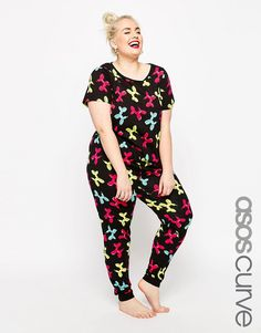 ASOS CURVE Balloon Dog Tee & Legging Pyjama Set