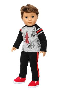 Rocket Ship Shirt, Black Pants & Red Shoes for American Boy Doll Clothes American Boy Doll, Boy Doll Clothes, Red Shoes, Slip On Shoes, Black Pants, Ship, Dolls, Hoodies, Sweaters