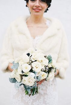 Brides: White Wintery Bouquet with Berries & Dusty Miller. A white winter bouquet comprised of white roses and anemones, dusty miller, and silver brunia berries, created by Love This Day Events. Winter Wedding Fur, Elegant Winter Wedding, Winter Bride, Winter Wonderland Wedding, Winter Weddings, Fall Wedding, Wedding Reception, White Wedding Bouquets, Best Wedding Dresses