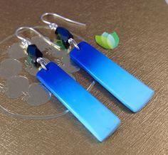 Blue Skinner Blend Ombré Polymer Clay Earrings by soulfuljewels, $15.00