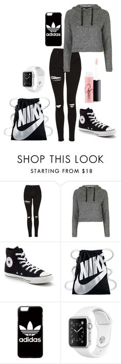 """Day with friends #2"" by yamers ❤ liked on Polyvore featuring Topshop, Converse, NIKE, adidas and MAC Cosmetics"