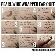 Gypsy jewelry Pearl Wire Wrapped Ear Cuff Tutorial – Zounds Designs Easy Does It With Robotic Lawn M Wire Ear Cuffs, Elf Ear Cuff, Ear Cuffs Diy, Ear Cuff Tutorial, Earring Tutorial, Cuff Jewelry, Cuff Earrings, Jewelery, Wire Bracelets