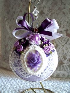 Victorian Glass Christmas Ornament with Rose by SimpleOfferings