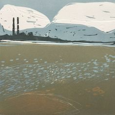Dublin Port, Poolbeg, Irish Sea, Linocut, Original block print by MWMart on Etsy