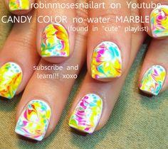 Nail art Rainbow Easy No Water Marble (+playlist)