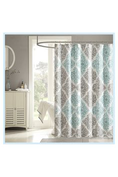 Madison Park Claire Shower Curtain In Aqua#aqua #claire #curtain #madison #park #shower Baños Shabby Chic, Shower Curtain Hooks, Shower Curtains, Shower Liner, Shower Remodel, Bath Remodel, Home Living, Kitchen Living, Living Room