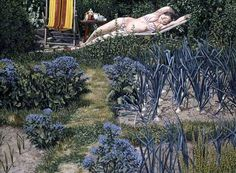 Figure in the Garden (1989) by David Inshaw. Clyro, near Hay-on-Wye, Powys, Wales, second wife Shelagh Popham.