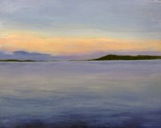 Landscape painting by Brian Skol Lake Superior at Dusk Oil on Panel 8x10