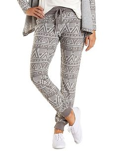 These grey tribal sweatpants have lazy Sunday written all over them! - http://AmericasMall.com/categories/juniors-teens.html