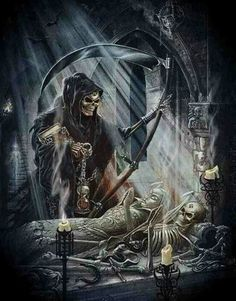. Skull Tattoos, Crane, Santa Muerte, Grim Reaper Tattoo, Grim Reaper Art, Skulls, Don't Fear The Reaper, Death Reaper, Skull Art