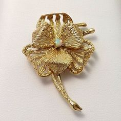 14k Yellow Gold Opalite Opal Clover Flower Brooch Pin Pendant 5.1gr #Opalite