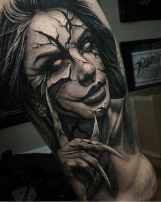 Evil Tattoos, Scary Tattoos, Leg Tattoos, Body Art Tattoos, Tattoo Drawings, Sleeve Tattoos, Portrait Tattoo Sleeve, Portrait Tattoos, Skull Girl Tattoo