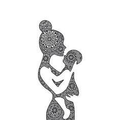 Mother and child tattoo design Doodle Art Drawing, Zentangle Drawings, Mandala Drawing, Pencil Art Drawings, Art Drawings Sketches, Mandala Tattoo, Mandala Art, Mutterschaft Tattoos, Et Tattoo