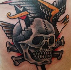 Old school skull and cross bones // Dagger & Bald Eagle // The quintessential images of American traditional tattoos // Steve Boltz Smith Street Tattoo Brooklyn, NY