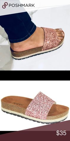 2961f46bda8 Rose Gold Espadrilles platform glitter slides Cute platform Rose Gold glitter  Slide and espadrilles combo
