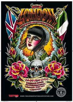Valerie Vargas poster for the London Tattoo Convention, Sept 2010 Graphic Design Print, Graphic Art, Worldwide Tattoo, Convention Tattoo, Tattoo Posters, Street Tattoo, Tattoo Addiction, London Tattoo, Kunst Poster