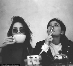 Moody: Kylie shared a photo on Instagram very similar to this one posted by sister Kendall Jenner recently, the two seemingly indulging in a spot of tea over the festive period