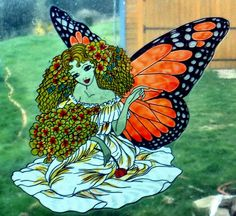 WICOART WINDOW COLOR STICKER CLING FAUX STAINED GLASS FEE PAPILLON BUTTERFLY FAE