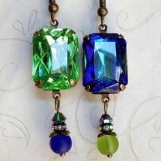 Jewel Earrings Rhinestone EArrings Blue Green by Msemrick on Etsy
