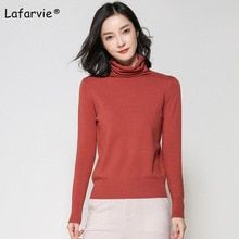 d9803b9c3cde9 Lafarvie Autumn Winter Cashmere Blended Sweater Female Pullover Turtleneck  Sweater Women Solid Color Pull Femme Knitted