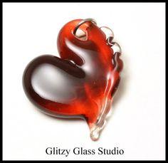 Lampwork Focal bead     Garnet Ruby Red Heart by DeMarieBeads, $12.00
