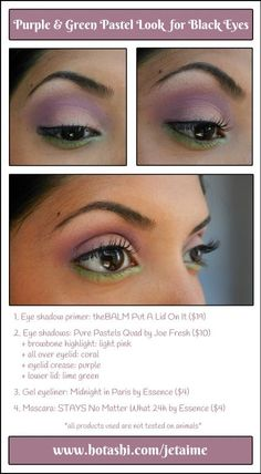 Purple and green pastel look for black eyes #hotashi #brownskin #blackeyes