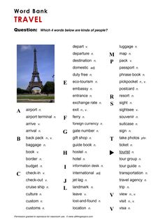 Travel, English, Learning English, Vocabulary, ESL, English Phrases, http://www.allthingstopics.com/travel.html