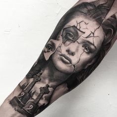 Thinking of a portrait tattoo... *Pretty face w/ broken piece to reveal skull underneath
