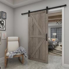 Add instant warmth and charm to any room of your choice with the grey Artisan barn door. Inspired by the traditional British K-Brace design, this door will help to transform your space to farmhouse chic Bedroom Barn Door, Barn Door Closet, Diy Sliding Barn Door, Install Barn Door, Basement Master Bedroom, Diy Barn Door, Home Door Design, Barn Door Designs, House Design