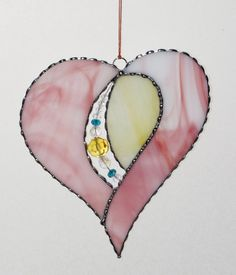 Stained Glass Suncatcher  Open Heart Valentine Heart by GLASSbits