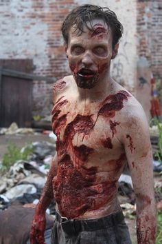 Impressive zombie makeup from The Walking Dead.
